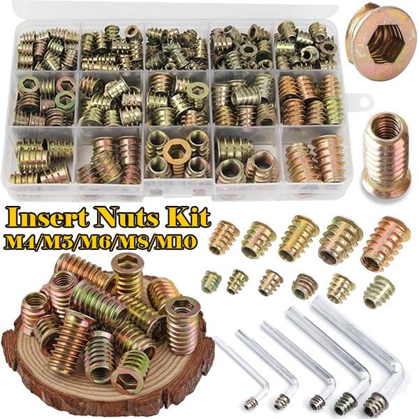 Head, zinchexdrivescrew, threadedwoodinsertnut, threadedwoodnut