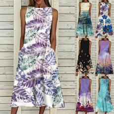 Sleeveless dress, Vest, Plus Size, Floral print