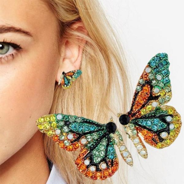 butterfly, Heart, Hoop Earring, Dangle Earring