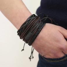 black bracelet, Jewelry, leather, BraceletMen