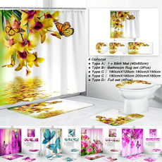 butterfly, flowershowercurtain, Bathroom, bathroomdecor
