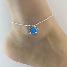 Turtle, Blues, sterling silver, wishbracelet