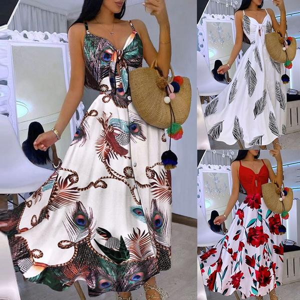 Summer, vest dress, Necks, long dress