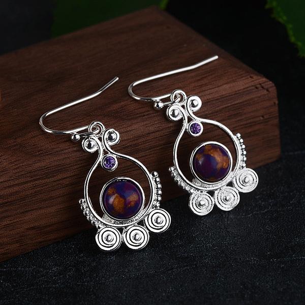 Sterling, charoite, Silver Jewelry, Dangle Earring