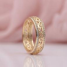 wedding ring, gold, Diamond Ring, simplering