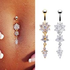 Steel, navel rings, Jewelry, flowernavelring