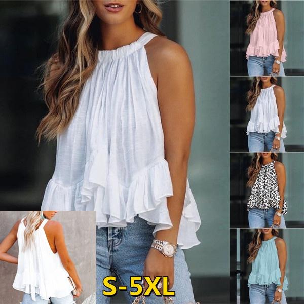 Summer, Plus Size, Tops & Blouses, Halter