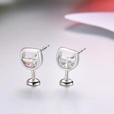 Sterling, Stud Earring, Simple, Glass