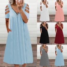 Dress, hollowsleevesskirt, casual dresses, V-neck