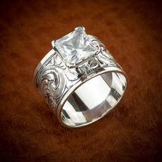 Beautiful, DIAMOND, carvingring, Silver Ring