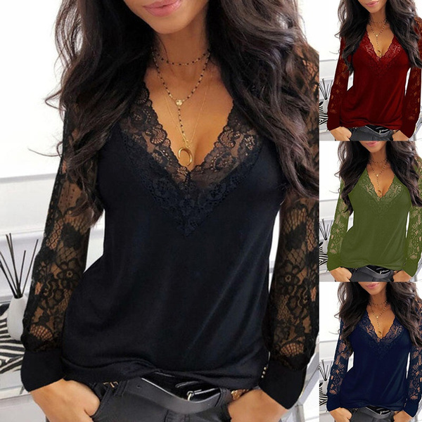 sleeve v-neck, Plus Size, Shirt, Hollow-out