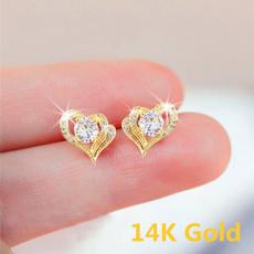 Heart, DIAMOND, Stud, gold