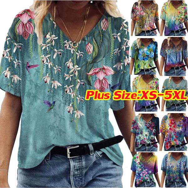 Summer, Plus Size, Cotton, Cotton T Shirt