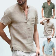 Summer, V Collar, Men, Sleeve