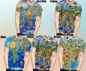 Map, shortsleevestshirt, 3dmentshirt, noveltytshirt