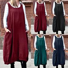 overallsdre, Elastic, pinaforedre, plus size dress
