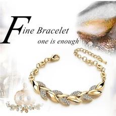 Summer, DIAMOND, gold, leafbracelet