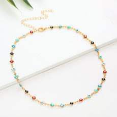 gold, eyenecklace, necklace for women, Choker