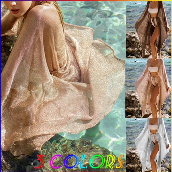 golden, long skirt, cardigan, beachshirt