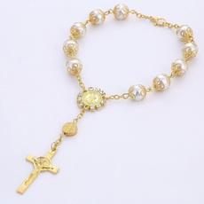 Beaded Bracelets, Pearl Bracelet, Gifts, Cross Bracelet