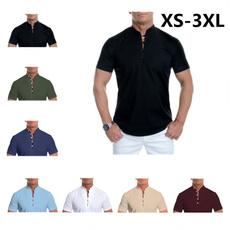Stand Collar, Summer, Fashion, Shirt