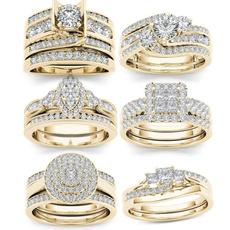 DIAMOND, gold, ringsforwomenweddingset, Women's Fashion