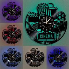 movieloversgift, Home & Kitchen, popcornrecordwallclock, ledluminouswallclock