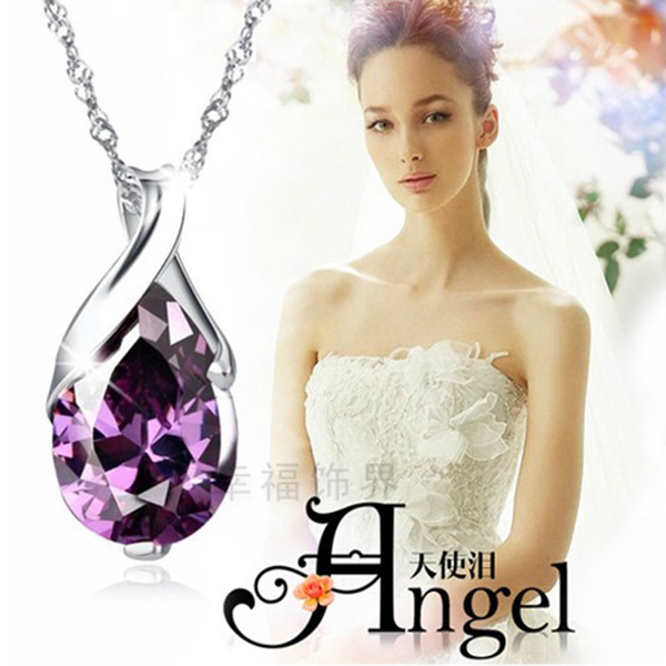 925 sterling silver necklace, crystal pendant, Fashion, Jewelry