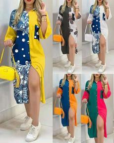 buttondres, Plus Size, women dresses, long dress