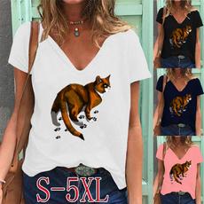 Deep V-Neck, Summer, Plus Size, Shirt