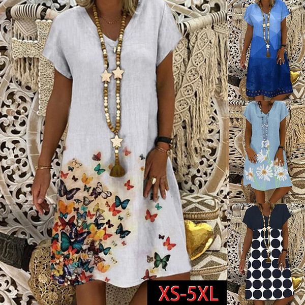 Summer, Bat, Plus Size, Dress