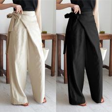 Women Pants, longtrouser, solidcolortrouser, Cotton