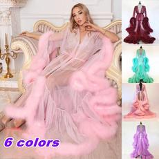 gowns, fur, Lace, chiffon dress