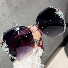 retro sunglasses, Women's Fashion & Accessories, Moda, rimlesssunglasse