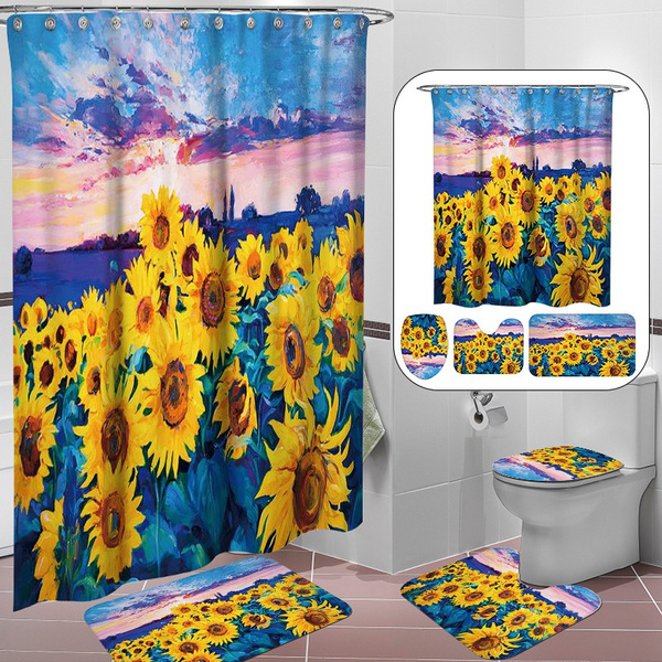 Home Decor, bathroomrugsset, Shower Curtains, Sunflowers