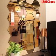 hexagonmirror, Decor, hexagon, glasssticker