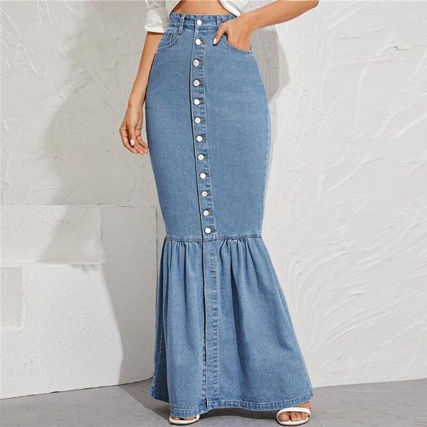 Summer, long skirt, pencil skirt, ruffle