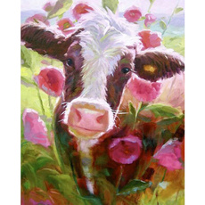 Flowers, Wall Art, Home Decor, cow