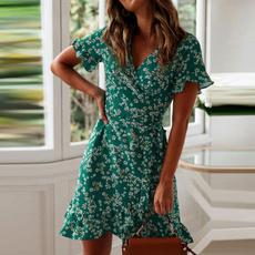 Summer, ruffle, Mini, Dress