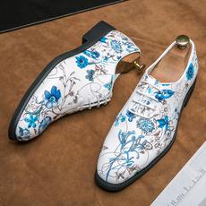 Plus Size, Floral, leather shoes, menleathershoe