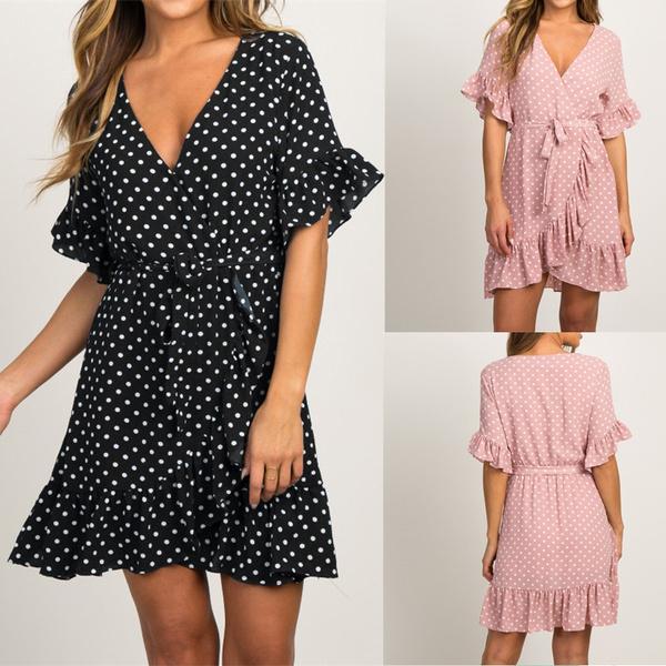 women sexy dress, Summer, short sleeve dress, Necks