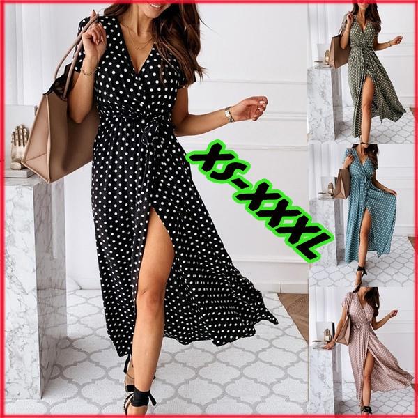 polkadotsdre, long skirt, short sleeve dress, Dress