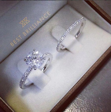 Sterling, Engagement Wedding Ring Set, 925 silver rings, Engagement Ring