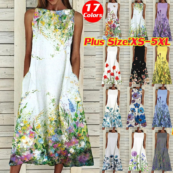 sleeveless, Plus Size, Summer, long dress