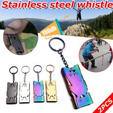 Steel, highdecibel, survivalwhistle, Key Chain