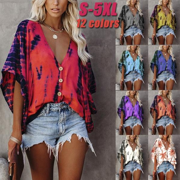 blouse, buttonupshirt, Bat, Plus Size