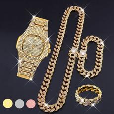 Bracelet, DIAMOND, icedoutchain, gold