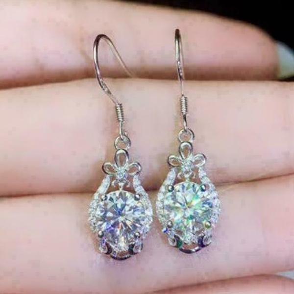 Sterling, DIAMOND, wedding earrings, engagementearring