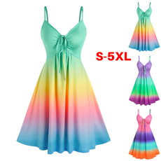 Summer, Plus Size, A-line, rainbow