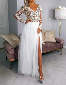 gowns, Lace, Cocktail, Long Sleeve